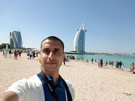 Adil Musa enjoying the Burj Al Arab view
