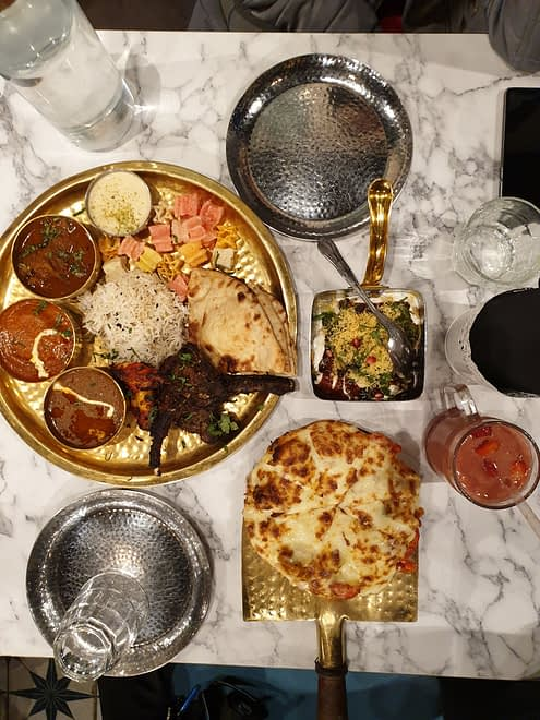 Flatlay of whole meal at Love Saffron Street